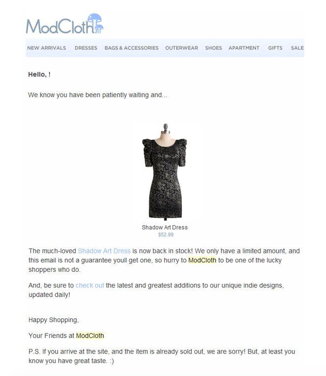 Mod Cloth - Email Marketing for eCommerce