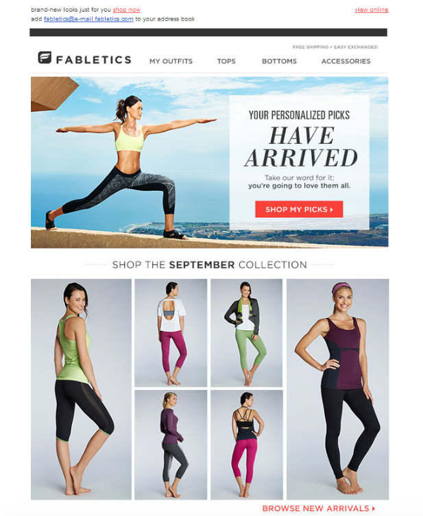 fabletics - Email Marketing for eCommerce