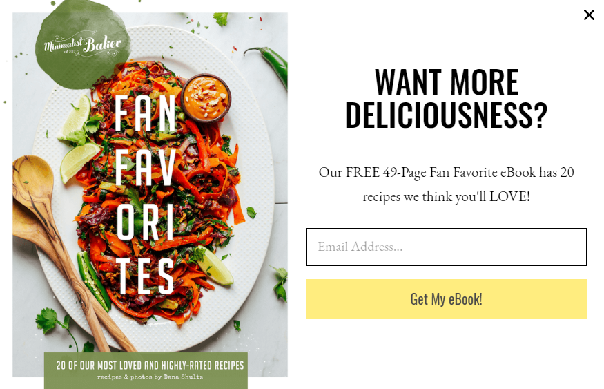 Minimalist Baker use recipe eBook as premium content to attract new subscribers